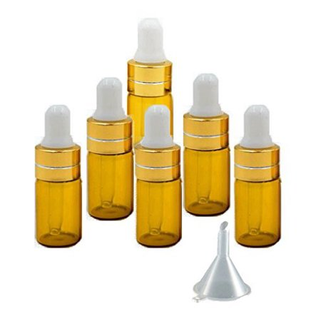 Grand Parfums 3ml Amber Glass Dropper Bottles with Gold Caps and White Bulb for Essential Oil, Serums, Makeups (6 - Glass Serum Tube