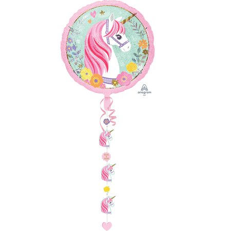 Magical Unicorn Drop A Line Foil Balloon 90