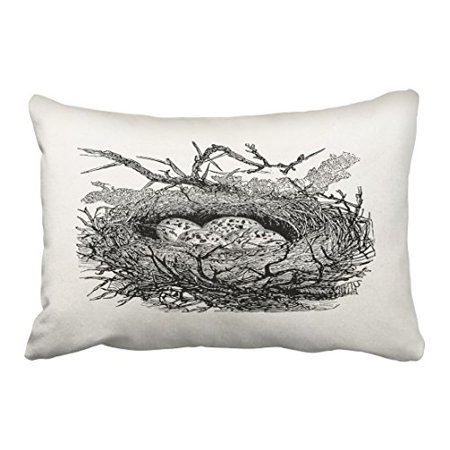 WinHome Vintage Speckled Eggs Bird Nest Personalized Birds Pencil Drawing Tribal Polyester 20 x 30 Inch Rectangle Throw Pillow Covers With Hidden Zipper Home Sofa Cushion Decorative Pillowcases