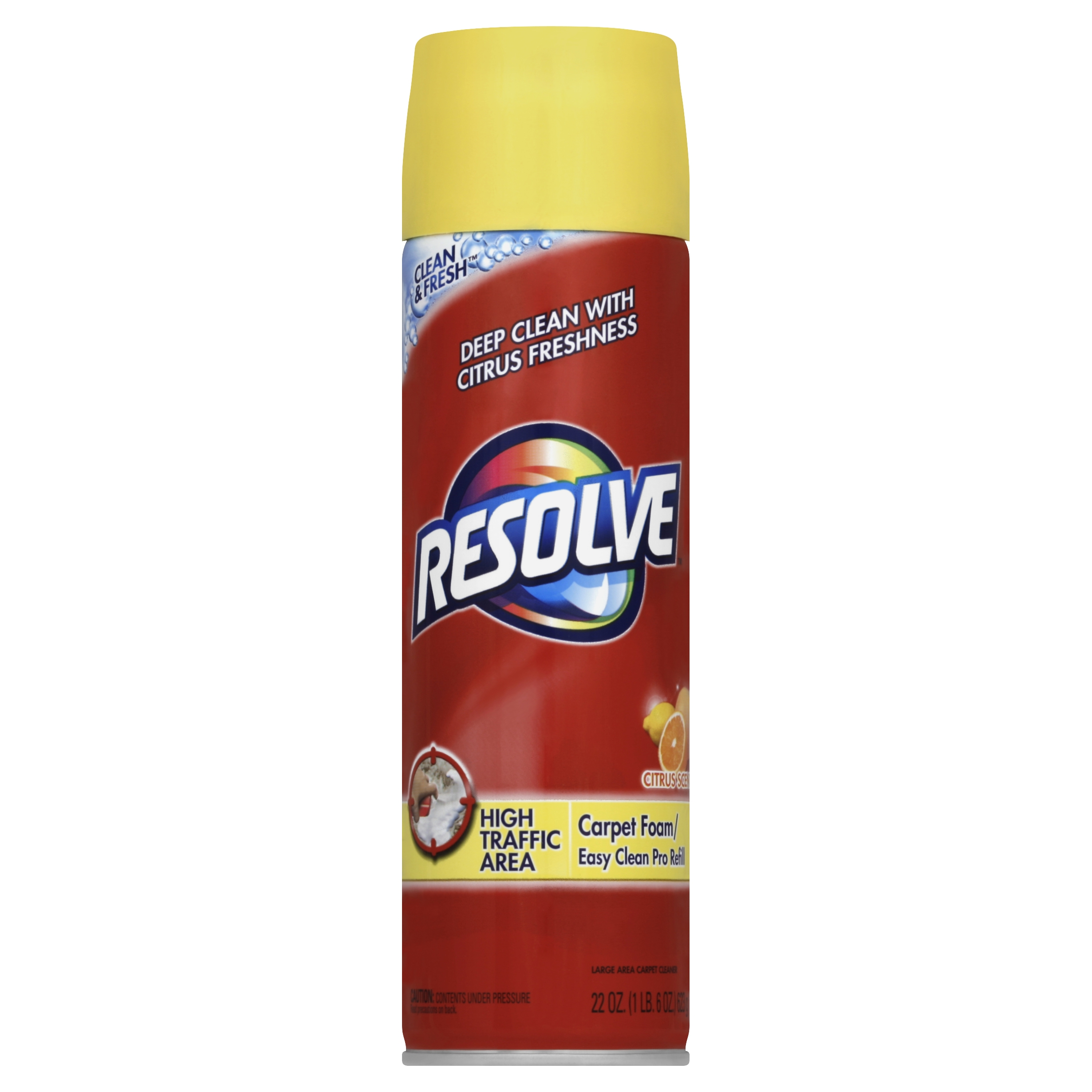 Resolve High Traffic Carpet Cleaner Foam, Citrus, 22 Ounce