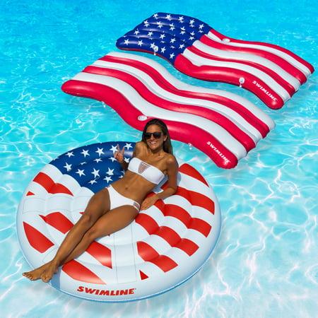 Swimline American Flag Swimming Pool Floats Combo Pack
