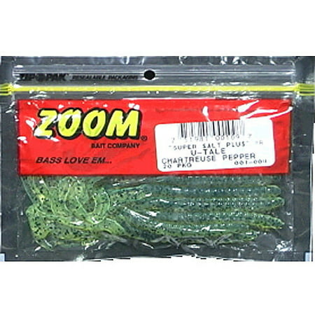 Grub Chartreuse Pepper (Zoom u-tail worm, chartreuse pepper, 20ct )