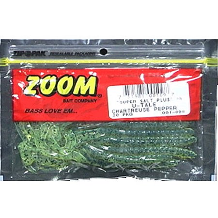 Zoom u-tail worm, chartreuse pepper, 20ct