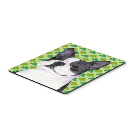 Boston Terrier St  Patrick's Day Shamrock Portrait Mouse Pad, Hot Pad or  Trivet