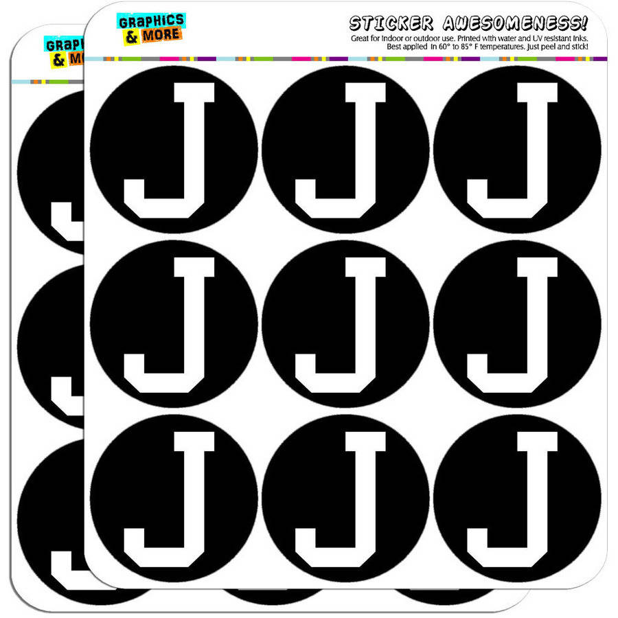 "Letter J Initial Black White 18 2"" Planner Calendar Scrapbooking Crafting Stickers"