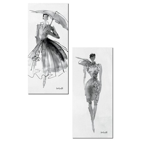 Panel Poster Bedroom Series - Trendy Runway Fashion Model Sketch Panel Sets by Anne Tavoletti; Two 8x18in Paper Posters
