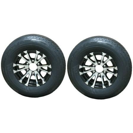 2-Pk Radial Trailer Tire Rim ST225/75R15 Load D 6 Lug Aluminum Avalanche Black (Trailer Rims 6 Lug)