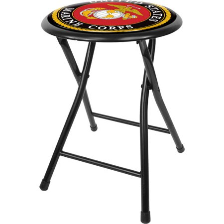 "Trademark United States Marine Corps 18"" Cushioned Folding Stool, Black"
