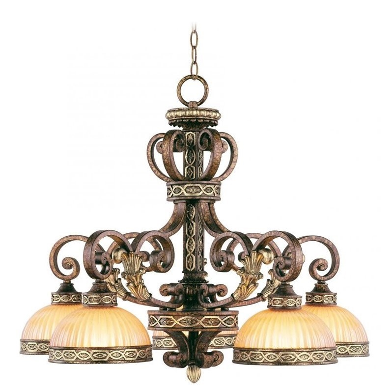 Livex Seville Chandelier in Palacial Bronze with Gilded Accents