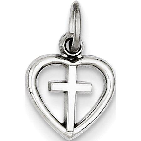 14k White Gold Cross in Heart (10x16mm) Pendant / Charm - image 2 of 2
