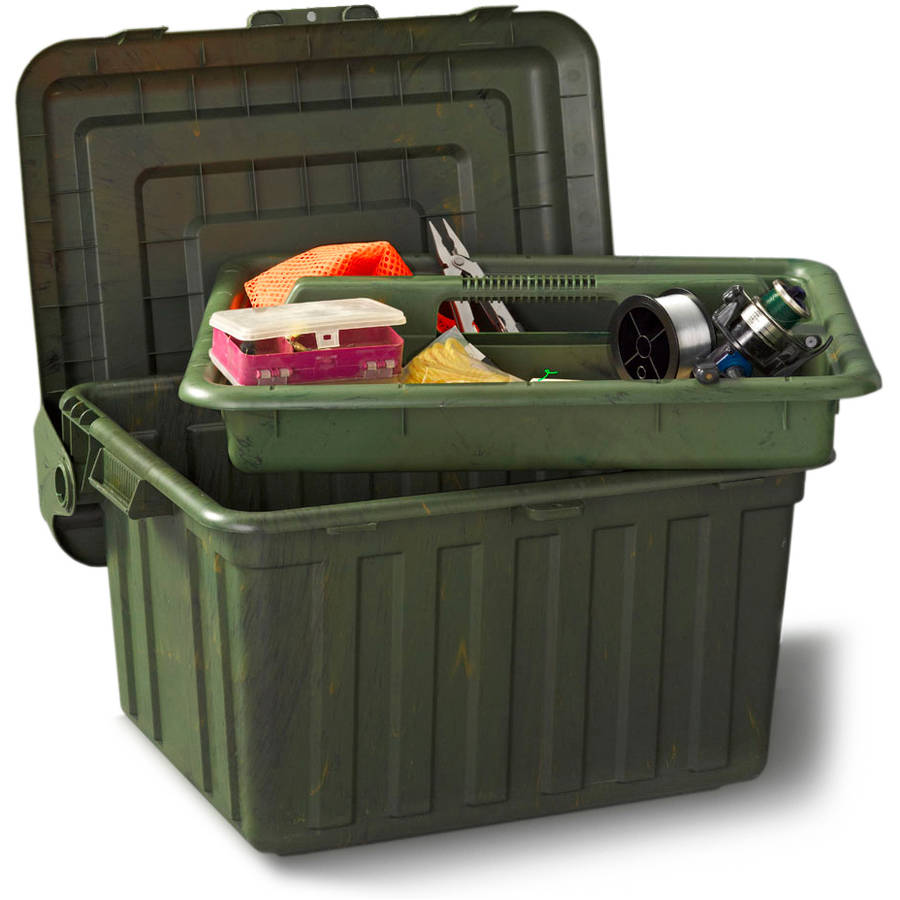 Durabilt Sport Utility Locker Tote with Removable Tray and Hinged Lid, Camo, Set of 2