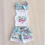 3Pcs Toddler Baby Girl Clothes Tops Floral Vest +Lace Shorts Pants Outfits Set