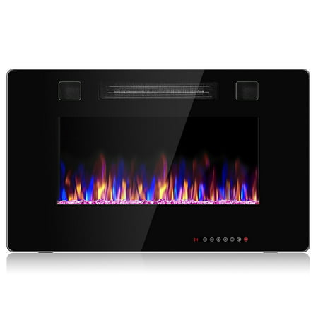Costway 30'' Electric Fireplace in Black Recessed Ultra Thin Wall Mounted Heater Multicolor Flame