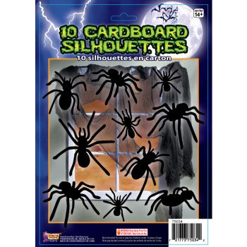 SILOUETTE SHADOW SPIDERS-10PC 12 - Halloween Silouettes