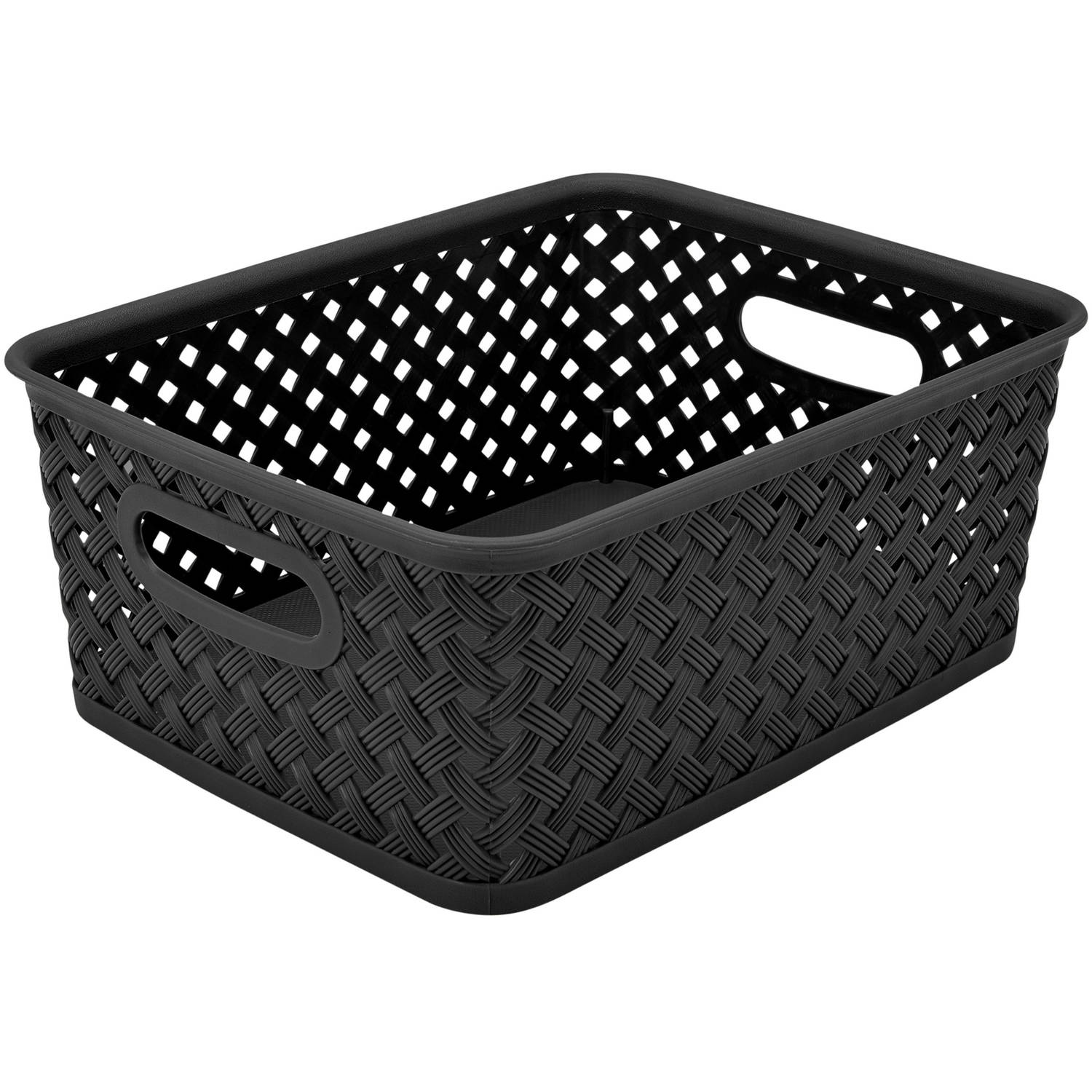 "Resin Wicker Storage Tote, Small, 10"" x 8"" x 4"", Basket Weave"