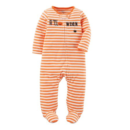 Carters Infant Boy 1st Halloween Fleece Orange Stripe Sleeper Sleep Play PJs (Jimmy Carter Halloween)