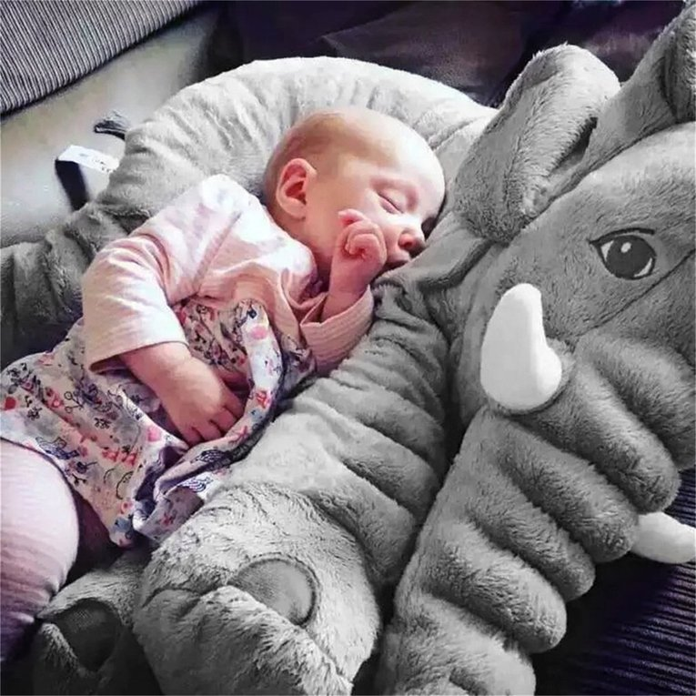 Stuffed Animal Cushion Kids Baby Sleeping Soft Pillow Toy Cute Elephant Cotton gray 33x40cm