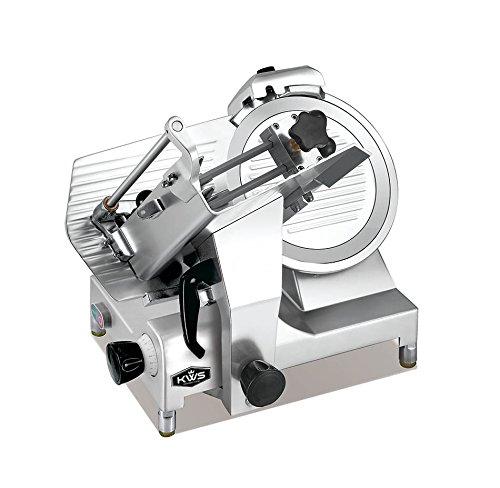 """KWS Premium 450w Electric Meat Slicer 12"""" Stainless Steel Blade With Commercial Grade Carriage, Frozen Meat/ Cheese/ Food Slicer Low Noises"""