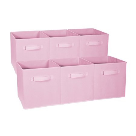 VGEBY Set of 6 Foldable Fabric Storage Cube Bins Collapsible Cloth Organizer Baskets Contanier, Folding Nursery Closet Drawer with Dual Handles, Bin Basket Container Organizer, Pink