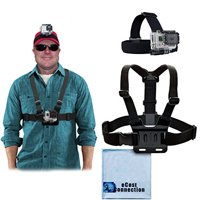 Adjustable Chest Mount Harness and Head Strap Mount for GoPro Hero1, GoPro Hero 2, GoPro Hero3, GoPro Hero3+, GoPro Hero4, Hero4 Session, HERO5 + Microfiber Cloth