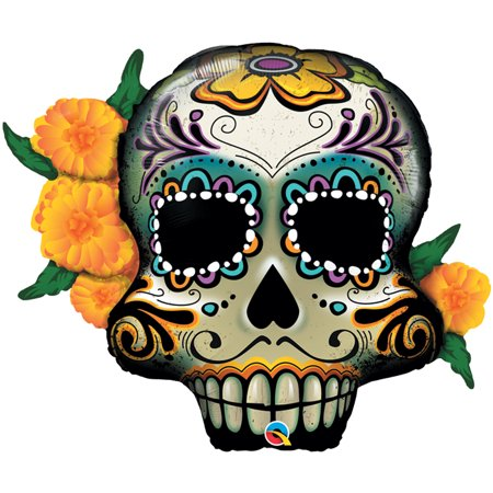 Qualatex Day of the Dead Floral Sugar Skull Giant 38