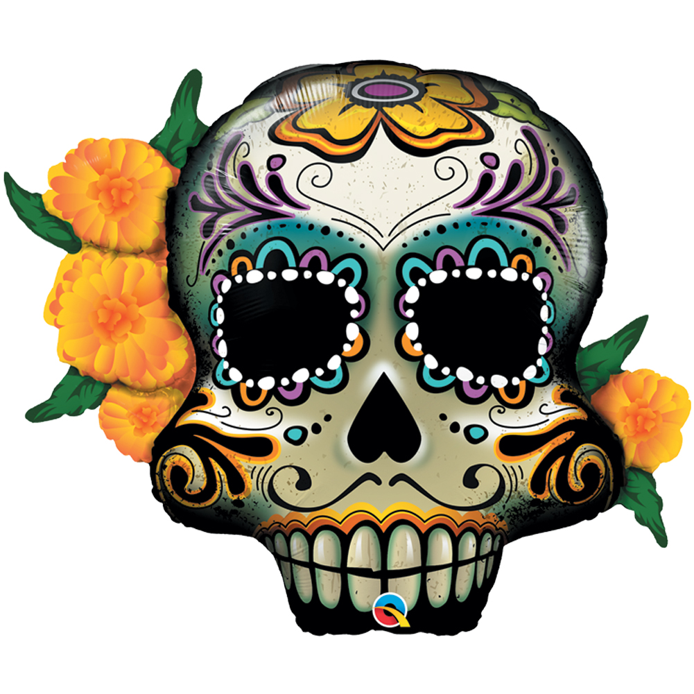 "Qualatex Day of the Dead Floral Sugar Skull Giant 38"" Foil Balloon"