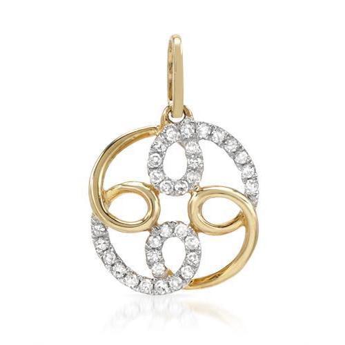 Vida 14K Yellow Gold Diamond Swirl Pendant