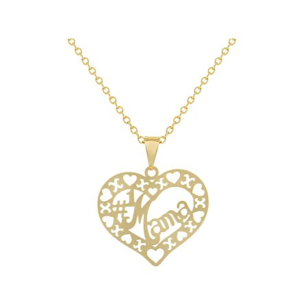 (18k Gold Plated Openwork #1 Mama Love Heart Pendant Necklace 19