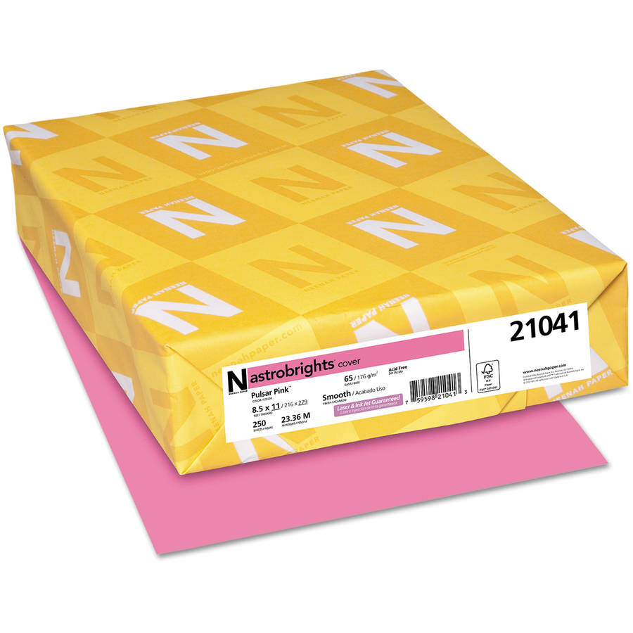 "Neenah Paper Astrobrights Colored Card Stock, 8.5"" x 11"", Pulsar Pink, 250 Sheets"