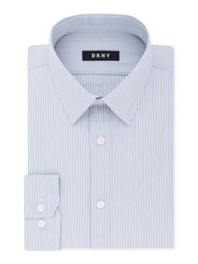 Mens Dress Shirt Cloud Striped Slim Fit Stretch 17
