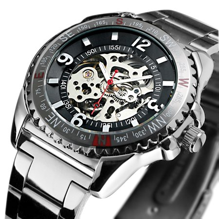 ESS Skeleton Mechanical Automatic Watch Silver Case Stainless Steel Band