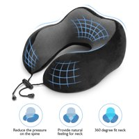 EOTVIA Ymiko Travel Pillow, Viscoelastic Travel Pillow with Memory Sponge Supports Neck , Viscoelastic Travel Pillow with Memory Sponge Supports Neck to Relieve Fatigue