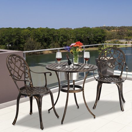 Topcobe 3-Piece Outdoor Bistro Set, Dining Table Set of Table and Chairs with Ice Bucket, European Style Cast Aluminum Outdoor Patio Furniture, Bronze ()