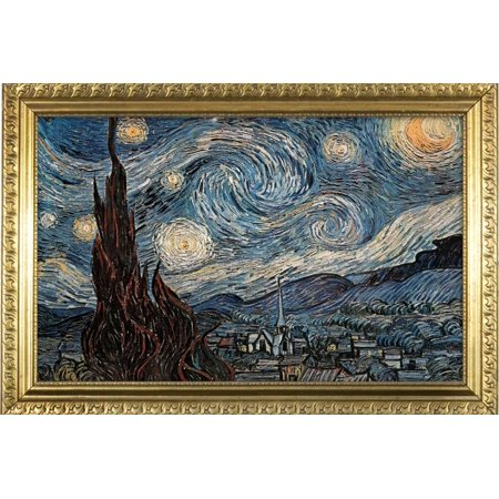 Starry Night Poster with Gilded Faux Frame Border Print Wall Art](Halloween Poster Border)