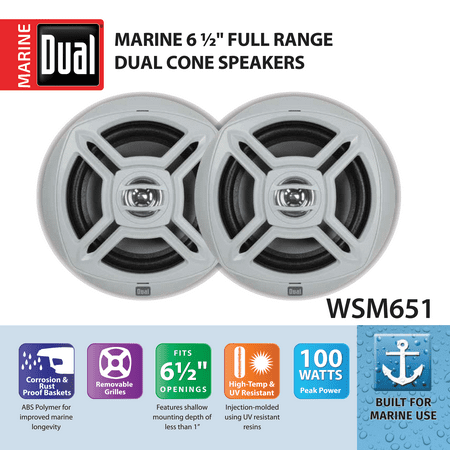 Dual Electronics WSM651 Two 6.5 inch Water Resistant Dual Cone High Performance Marine Speakers with 100 Watts of Peak