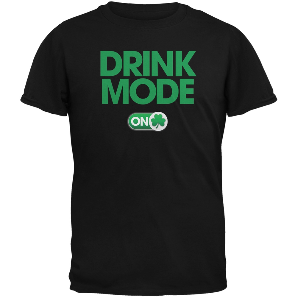 St. Patrick's Day - Drink Mode On Black Adult T-Shirt