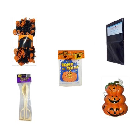 Halloween Fun Gift Bundle [5 Piece] -  Black & Orange Pumpkin Garland 10 ft. - Black Plastic Table Cover  -  Trick or Treat Bags 40/ct - Skeleton Server  - Motion-activated Spooky Sound & Light Jack