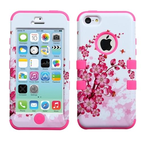 pink iphone 5c case insten flowers floral electric pink tuff hybrid 15865