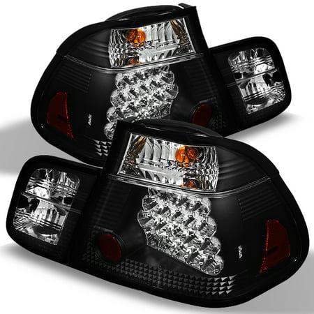 Fits 02-05 E46 3-Series 4Dr Sedan Black LED 4Pcs Tail Lights Lamp W/Trunk - 4dr Black Led