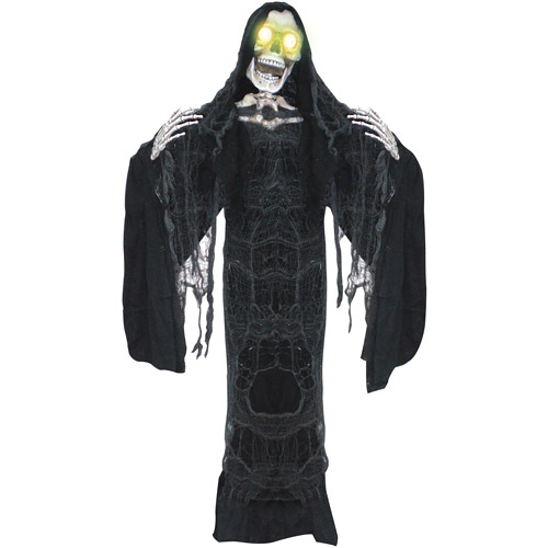 5' Black Reaper Moving Mouth Halloween Decoration