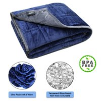 """Ultra Plush Pine & River Weighted Blanket -   Minky Warm Luxury - (48""""x60"""", 7 lb)   One Piece Construction   Blue/Gray (Perfect for 60 lb Individual)"""