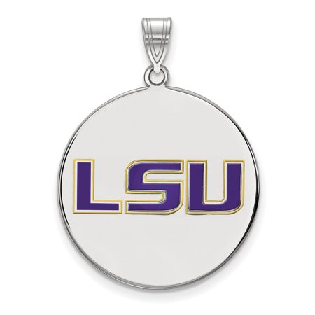 Sterling Silver LogoArt Louisiana State University Large Enamel Disc Pendan - image 1 of 1