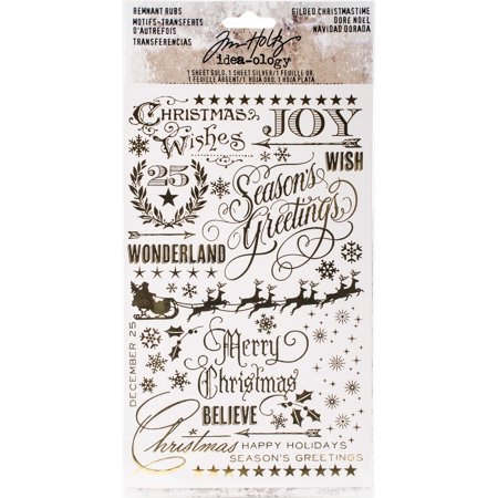 """Idea-Ology Remnant Rubs Rub-Ons 4.75""""X7.75"""" 2/Pkg-Gilded Christmas, 1 Gold & 1 Silver"""