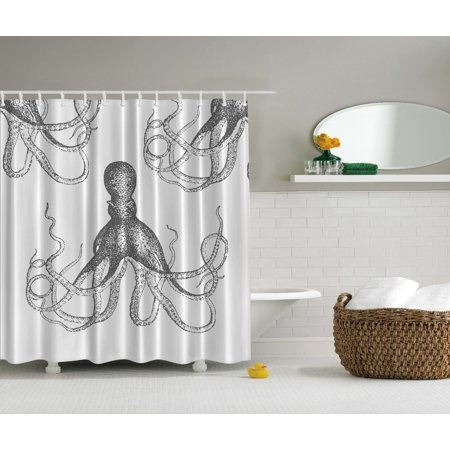 Octopus Kraken Tentacles Gray And White Shower Curtain Extra Long 84 Inch