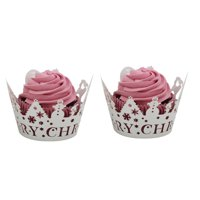 Christmas Hollow Lace Cup Muffin Cake Paper Case Wraps Cupcake Wrapper Black