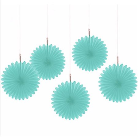 Robin's Egg Blue Mini Hanging Fan Decorations (5ct)
