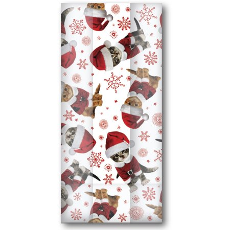 Large Cello Bags with Twist Ties, Kitty Christmas (100 Pcs) - Christmas Cookie Bags