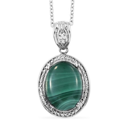 925 Sterling Silver Boho Handmade Round Malachite Pendant Necklace for Women Jewelry Gift