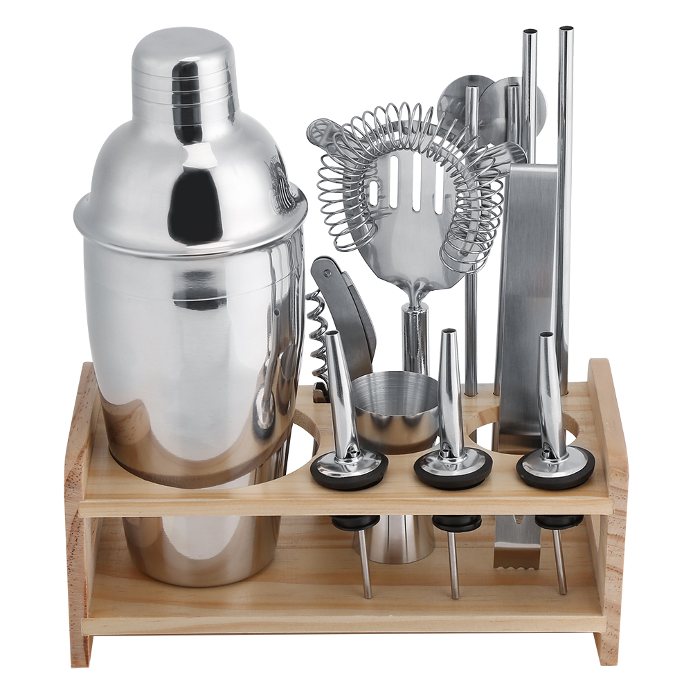 Yosoo Cocktail Shaker Drink Mixer Set - Bar / Bartender Kit - Wooden Base, Martini Shaker in Gift Box & Cocktail Recipes