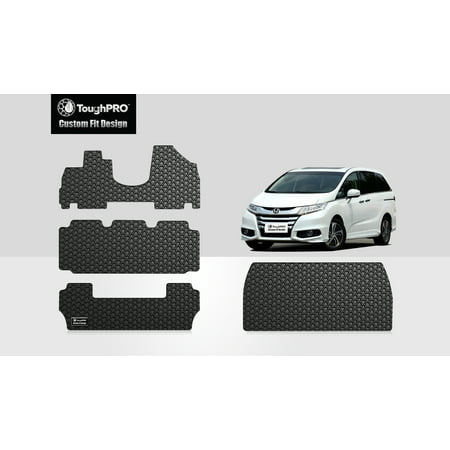 ToughPRO - HONDA Odyssey Full Set with Cargo Mats - All Weather - Heavy Duty - Black Rubber - 2012